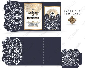 Laser cut Invitation Template with pocket. Wedding invitation template, Gift, Letter, etc. EPS SVG DXF files, Silhouette Cameo, Cricut
