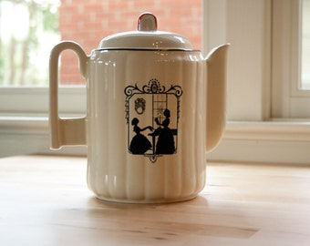 "Porcelier Ribbed Betty Porcelain Coffee Pot with ""Piano Lesson"" Colonial Silhouette"