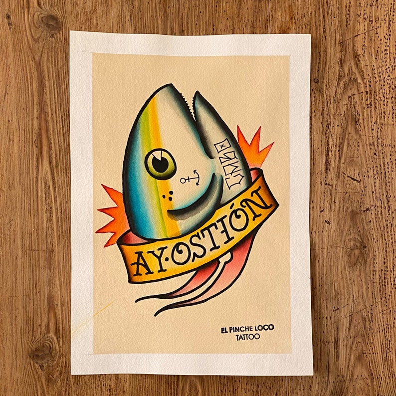 watercolour Arches paper A4 aprox 300gm Original painting tattoo flash Tuna Cabo