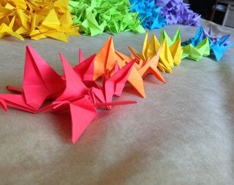 1000 Rainbow Coloured Origami Cranes