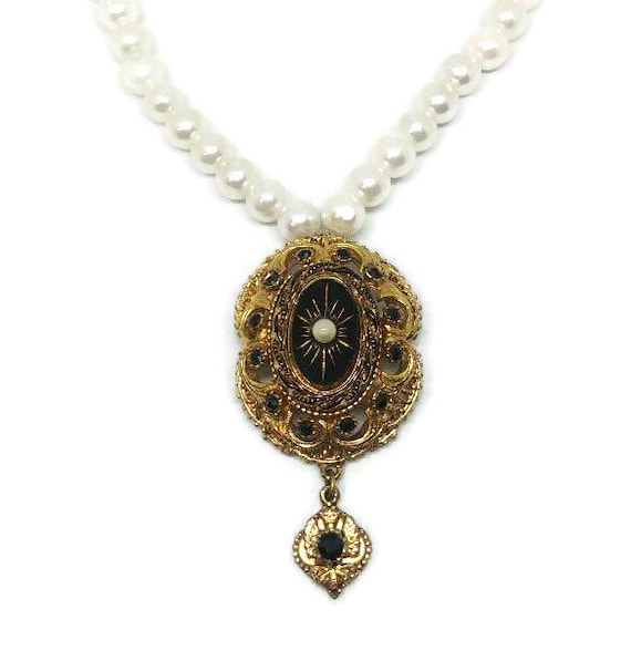 Gold Victorian Necklace - Pearl Victorian Necklace
