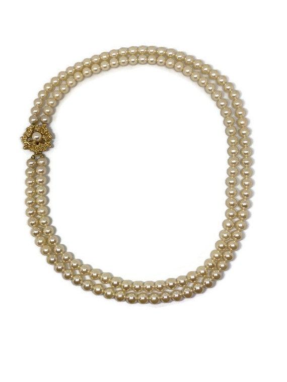 Two Strand Cream Pearl Necklace, Double Strand Pea