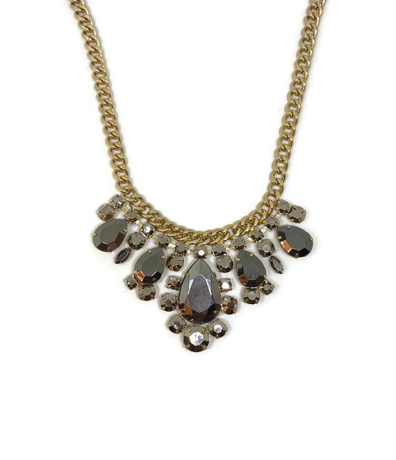Vintage Bib Necklace, Grey Costume Necklace, Vinta