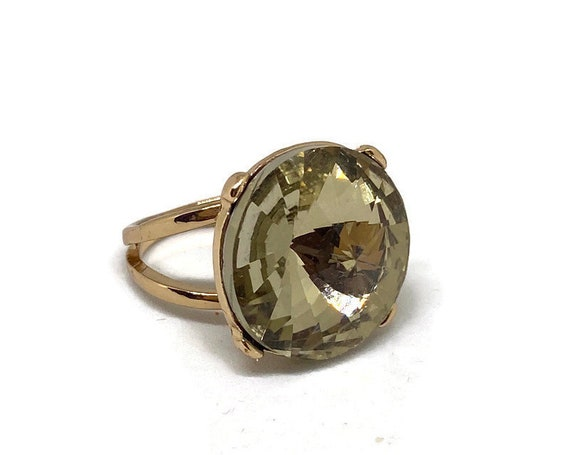 Gold Statement Ring Vintage, Champagne Crystal Rin
