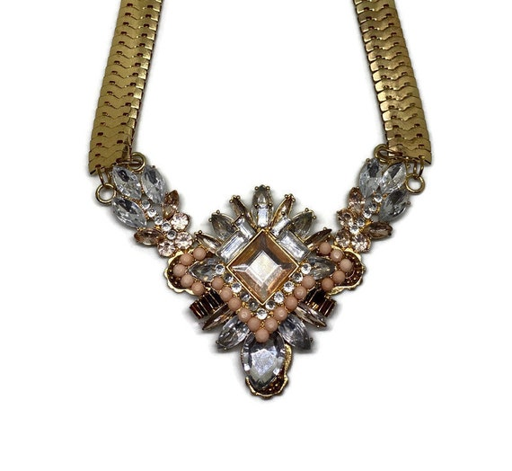 Chunky Vintage Necklace, Gold Chunky Necklace, Cos