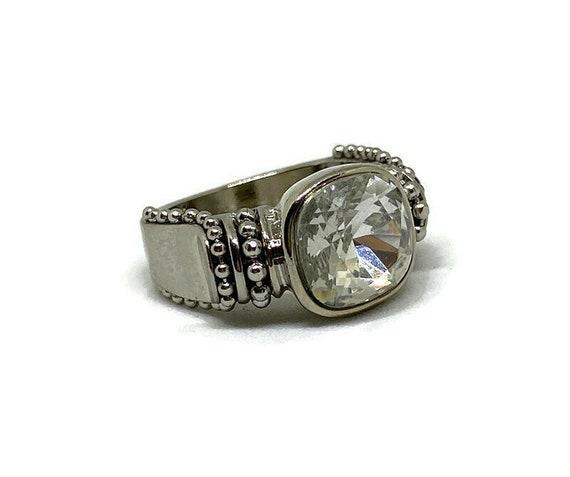Silver Gemstone Ring, Silver Crystal Ring, Clear C
