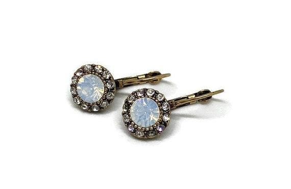 Vintage Moonstone Earrings, Moonstone Drop Earring