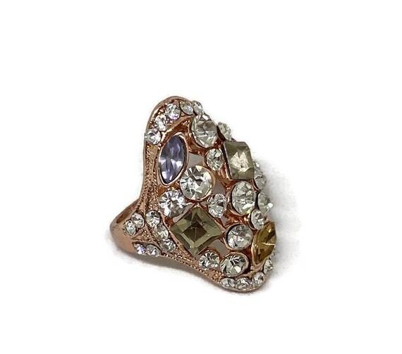 Multicolor Gemstone Ring, Vintage Crystal Ring, Vi