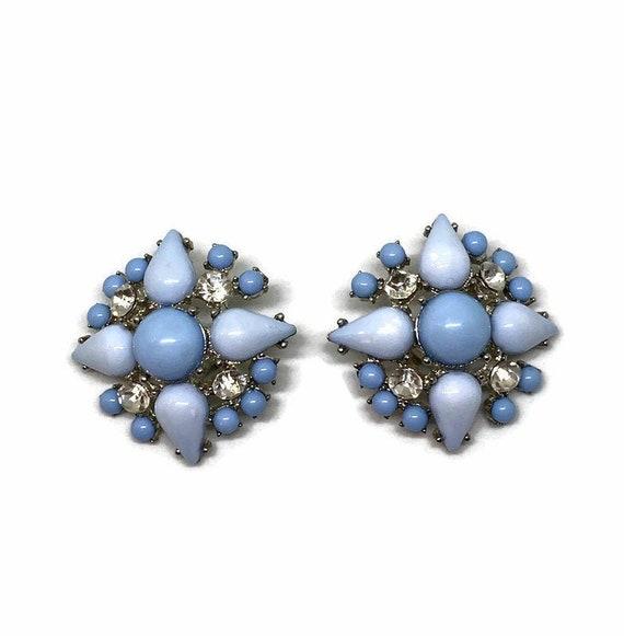 Item#EE237 Screw Back Earrings Sterling Silver Earrings  Blue Quartz Earrings  Vintage Earrings
