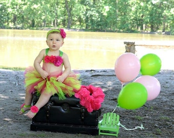 Two piece tutu set, Green and pink tutu with headband and Top, Raspberry pink and Lime Green tutu set, tutu Photo Prop, 6-12 Month to 2T/3T