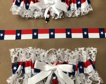 House Divided White Organza Wedding Garter Set Made with Auburn and Texas A /& M Fabric