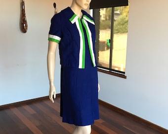 1960s 2pc Mod Shift Dress Jacket Ensemble Navy Blue Green White Linen M-L
