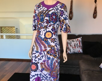 Vintage 1960s Floral Maxi Dress Purple Trim