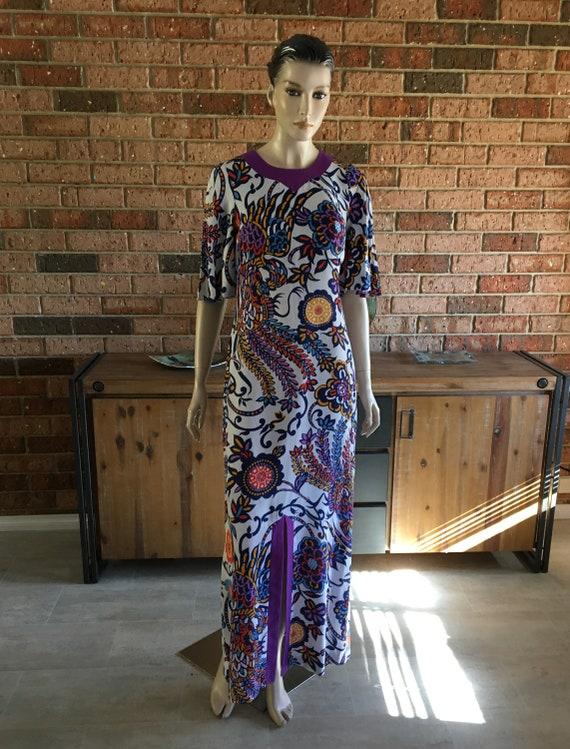 Vintage 1960s Psychadelic Floral Maxi Dress Caftan