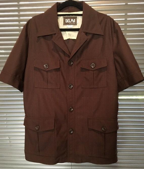 Mens Vintage 70s Chocolate Brown Safari Suit 2 Pie