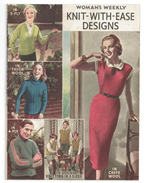 Womens Weekly Knit With Designs 11 Page Booklet 50s 60s Etsy