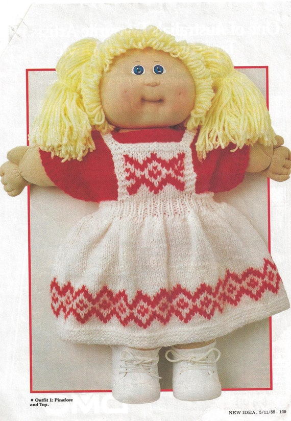 Knitting Pattern Vintage Cabbage Patch Doll Four Outfits 1988 Etsy