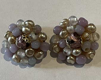 Vintage Lavender Pearl Large Statement Cluster Bead Clip On Earrings