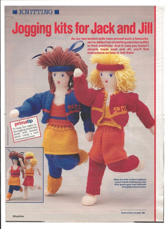 Vintage Knitting Pattern Dolls Jack And Jill Clothes Prima Etsy
