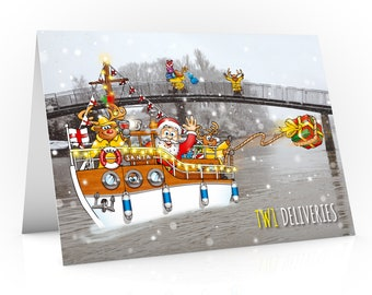 Twickenham Christmas card | Dunkirk boat sailing on river Thames past the famous Eel Pie Island | Santa delivering presents to TW1