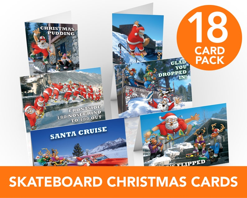 Skateboard Christmas Cards  18 card pack  Funny greeting image 0