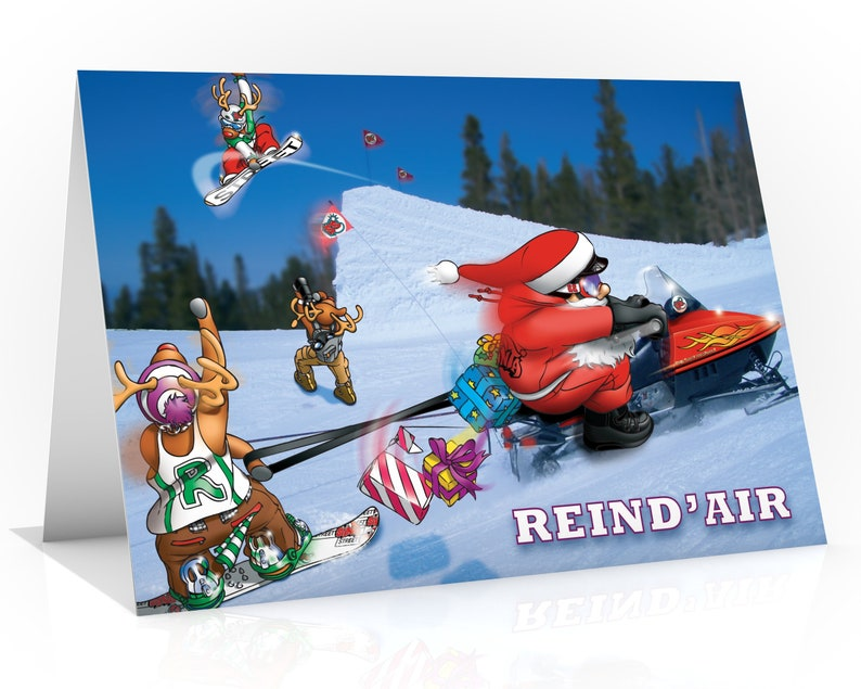 SNOWBOARD CHRISTMAS CARD  Reind'air  Funny Christmas image 0