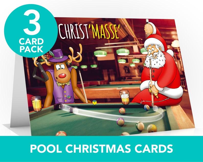 Pool Christmas card  3 CARD PACK  8 ball pool  Snooker  image 0