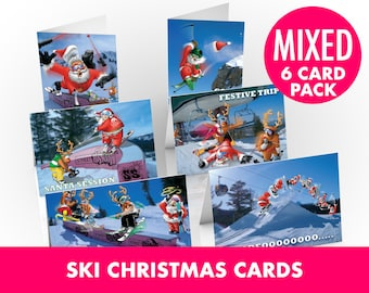 6 PACK of Ski Christmas Cards - A5 Size - Funny Christmas cards