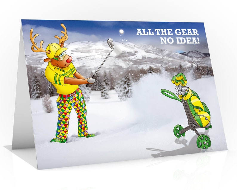GOLF CHRISTMAS CARD  All the gear no idea Funny Christmas image 0