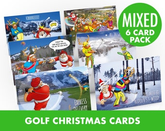 Golf Christmas Cards | 6 card pack | Funny range of golfing designs of Santa on the golf course | For Dad, Boyfriend | A5 size hand drawn