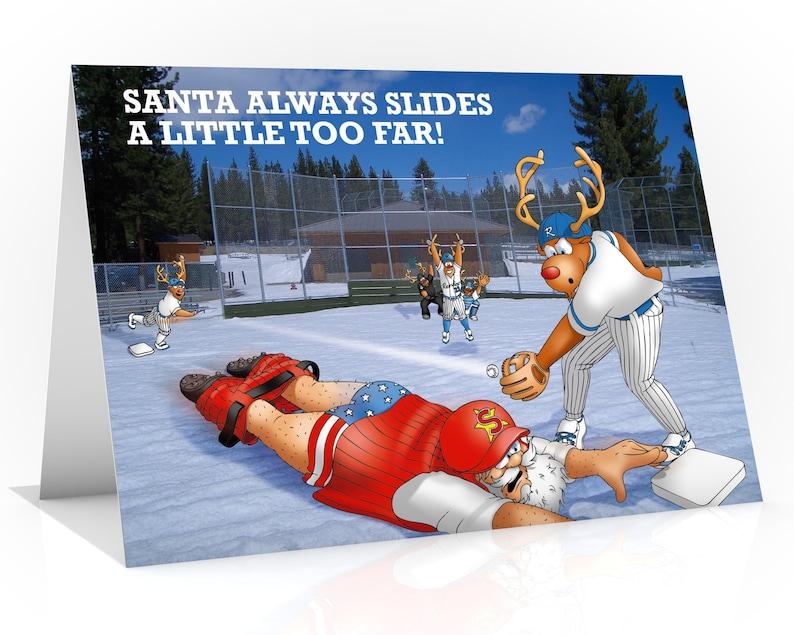 BASEBALL CHRISTMAS CARD  Santa always slides a little too image 0