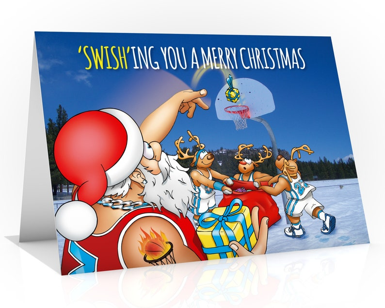 Basketball Christmas card  Funny Christmas card  Card for image 0