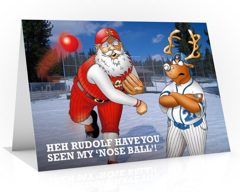 BASEBALL CHRISTMAS CARD  Heh Rudolf have you seen my image 0