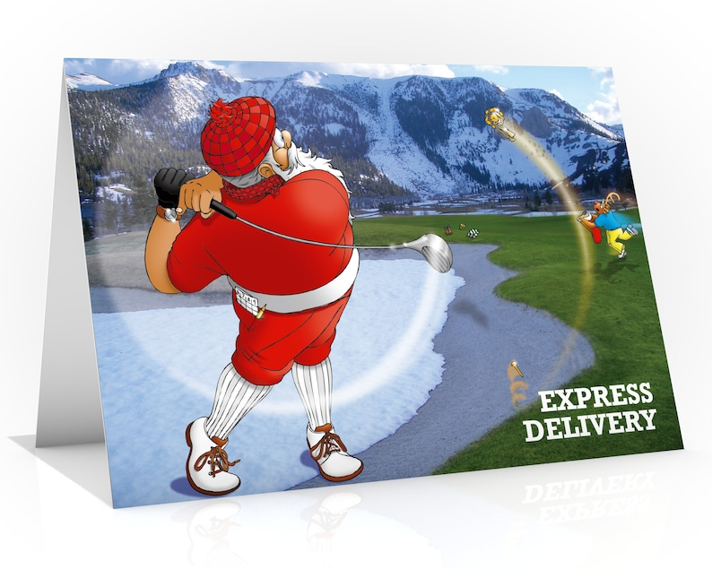 Golf Christmas card  Santa hitting present  Funny Christmas image 0