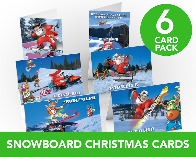 Snowboard Christmas Cards  6 card pack  A5 Size  Funny image 0