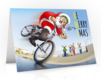 BMX Christmas card | Be Merry this Xmas | Santa nose manuals in the skate park | For son, daughter, grandson, grand daughter | A5 size