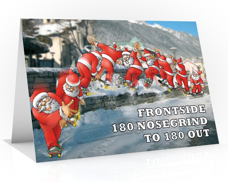 SKATEBOARD CHRISTMAS CARD  Frontside 180 nosegrind to 180 out image 0