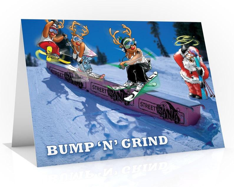 SKI CHRISTMAS CARD  Bump 'n' grind Funny Christmas image 0