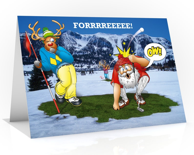 GOLF CHRISTMAS CARD  Forrrreeee Funny Christmas card  card image 0