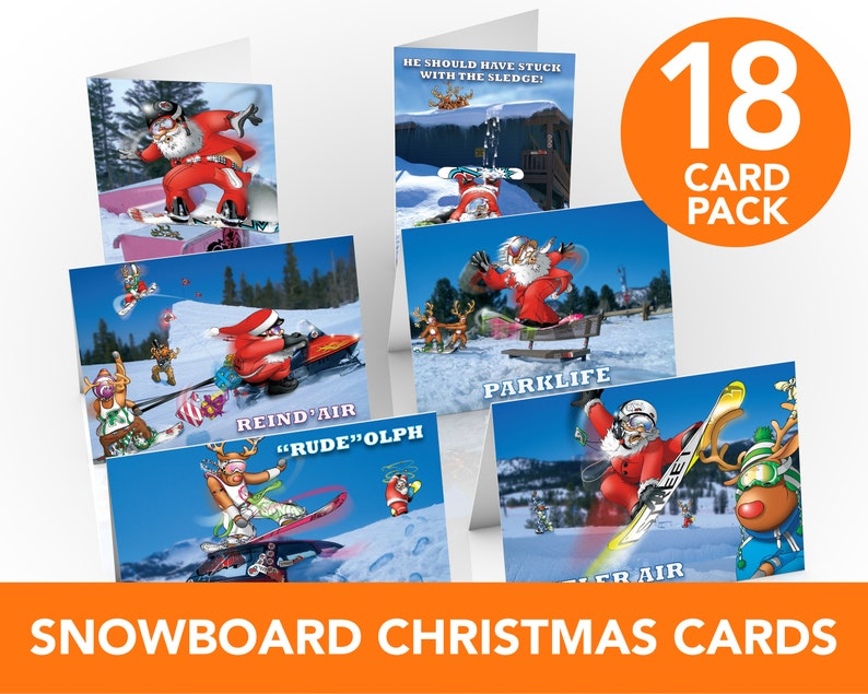 Snowboard Christmas Cards  18 card pack  Bumper pack of image 0