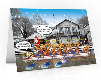 Twickenham Christmas card | Rudolph and friends in 8 man skull rowing boat going past rowing club | Funny design for team mates
