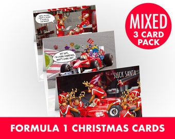 Formula 1 Christmas cards | Mixed 3 card pack | Perfect for F1 fans | For Dad, boyfriend, Son | A5 size Hand drawn