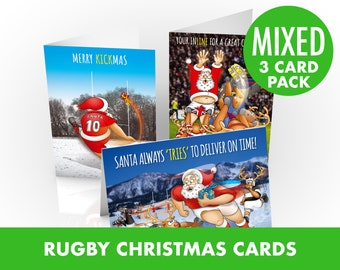 Rugby Christmas Cards | Mixed 3 card pack | Santa and his reindeers taking to the rugby pitch | For husband, wife, boyfriend, girlfriend