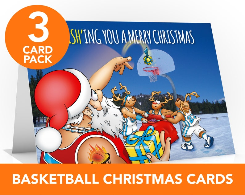 Basketball Christmas card  3 CARD PACK  Value pack  Bumper image 0