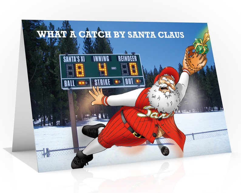 BASEBALL CHRISTMAS CARD  What a catch by Santa Claus Funny image 0