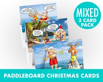 Paddleboard Christmas cards | Mixed 3 card pack | Funny designs of Santa on his stand up paddle board SUP | Watersport theme