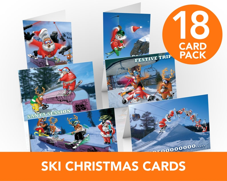 Ski Christmas Cards  18 card pack  A5 Size  Funny greeting image 0