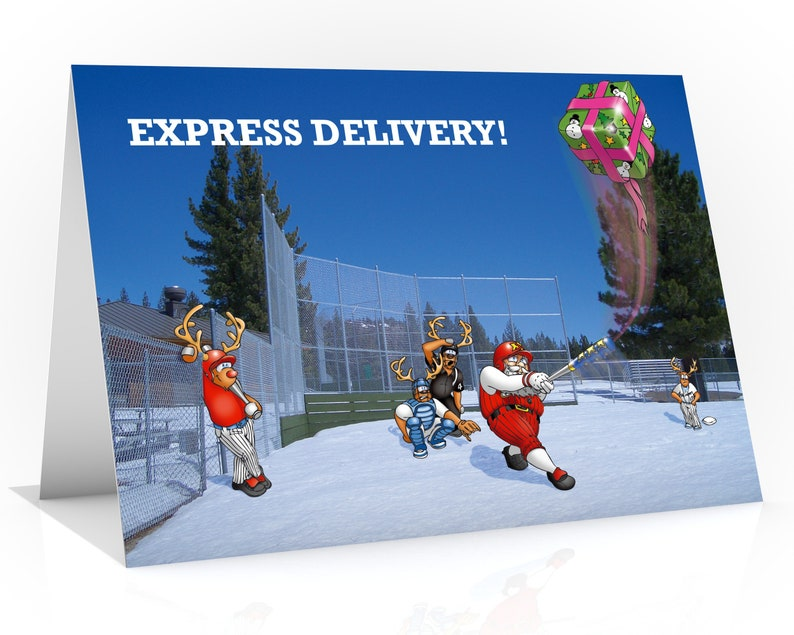 BASEBALL CHRISTMAS CARD  Express Delivery Funny Christmas image 0