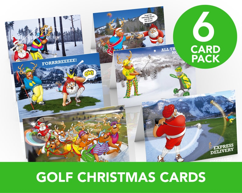 Golf Christmas Cards  6 card pack  A5 Size  Funny Golf image 0