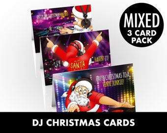 DJ Christmas cards - Selection pack of funny cards of party Santa - 3 CARD PACK